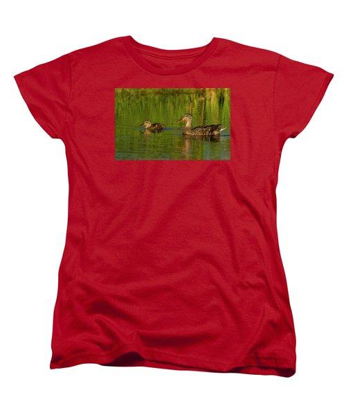 Women's T-Shirt (Standard Cut) featuring the photograph Mother And Child Mallards by Jean Noren