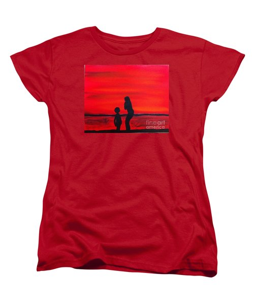 Women's T-Shirt (Standard Cut) featuring the painting Mother And Child by Rod Jellison