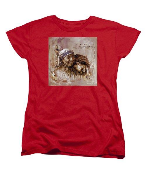 Women's T-Shirt (Standard Cut) featuring the painting Mother Teresa Of Calcutta  by Gull G