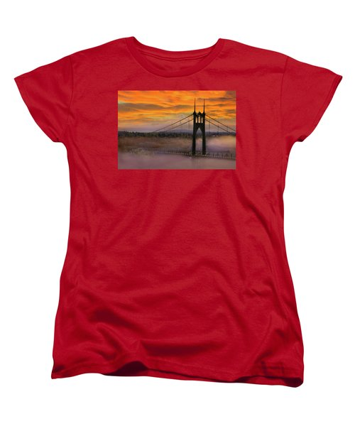 Mount Hood By St Johns Bridge During Sunrise Women's T-Shirt (Standard Fit)