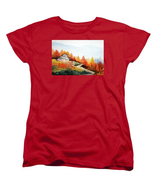 Mountain Autumn Forest Women's T-Shirt (Standard Cut) by Samiran Sarkar