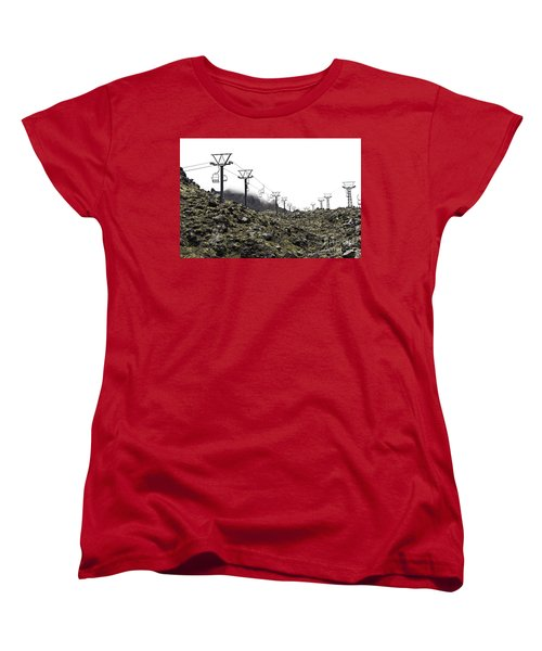 Women's T-Shirt (Standard Cut) featuring the photograph Mountain Cable Road Waiting For Snow. Mount Ruapehu. New Zealand by Yurix Sardinelly