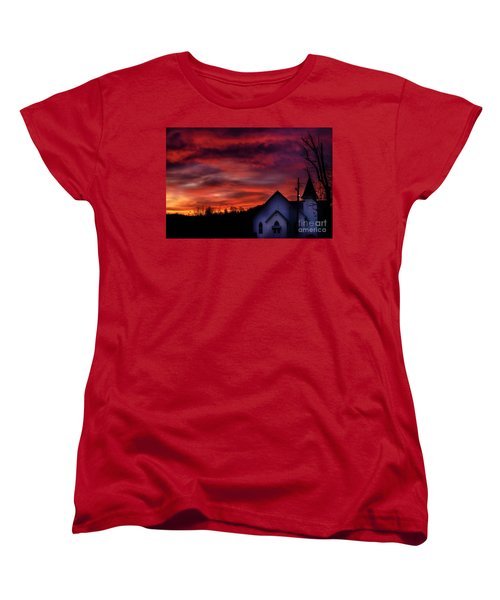 Women's T-Shirt (Standard Cut) featuring the photograph Mountain Sunrise And Church by Thomas R Fletcher