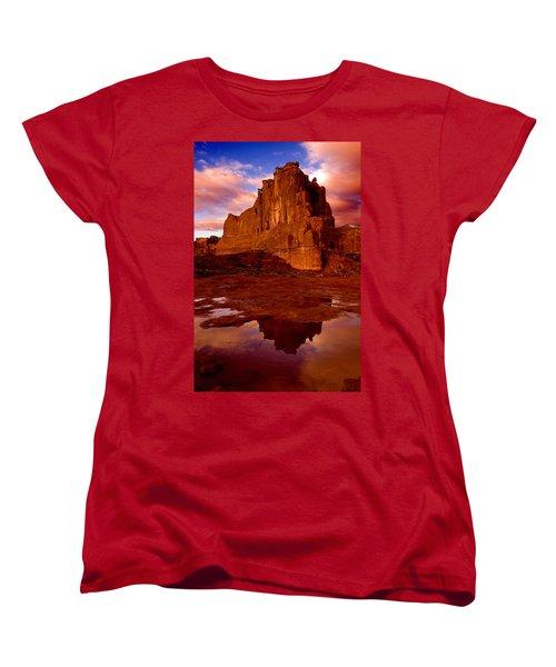 Women's T-Shirt (Standard Cut) featuring the photograph Mountain Sunrise Reflection by Harry Spitz