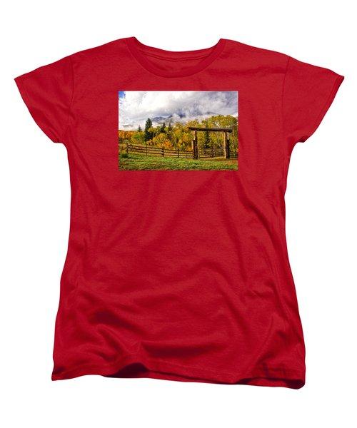 Mt Sopris Under The Clouds Women's T-Shirt (Standard Cut) by Ronda Kimbrow