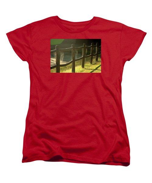 Multiple Spiderwebs On Wooden Fence Women's T-Shirt (Standard Cut) by Emanuel Tanjala