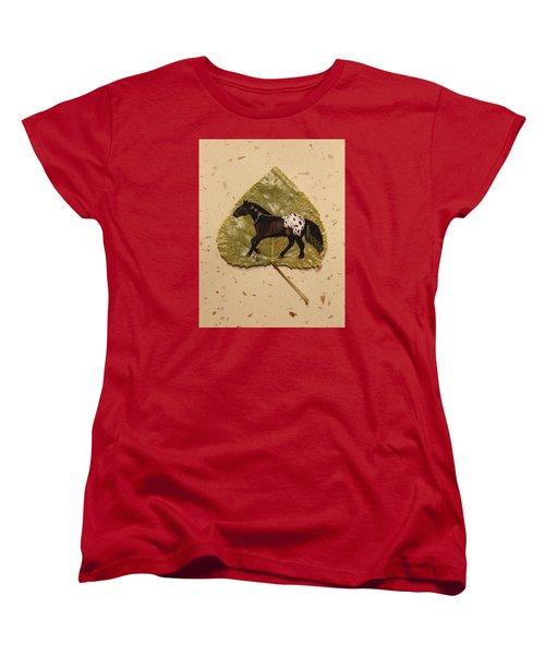 Mustang Appaloosa On Poplar Leaf Women's T-Shirt (Standard Cut) by Ralph Root