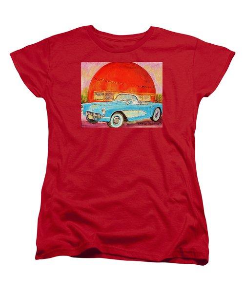Women's T-Shirt (Standard Cut) featuring the painting My Blue Corvette At The Orange Julep by Carole Spandau