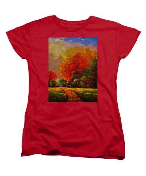 Women's T-Shirt (Standard Cut) featuring the painting My Favorite Park by Emery Franklin