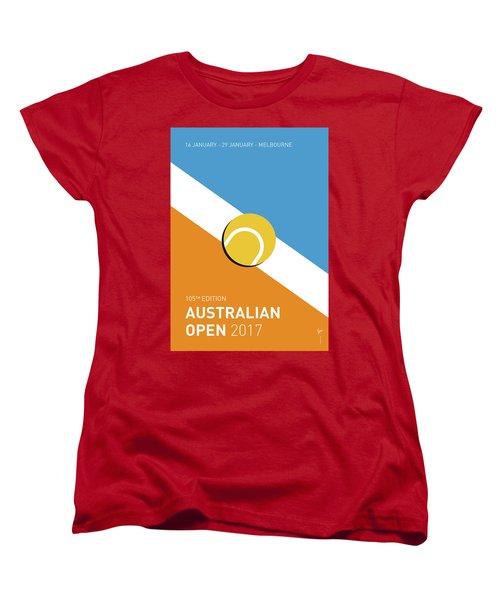 Women's T-Shirt (Standard Cut) featuring the digital art My Grand Slam 01 Australian Open 2017 Minimal Poster by Chungkong Art