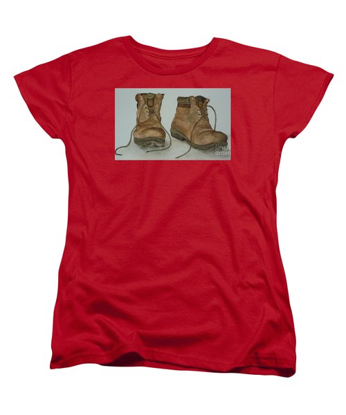 Women's T-Shirt (Standard Cut) featuring the painting My Old Hiking Boots by Annemeet Hasidi- van der Leij