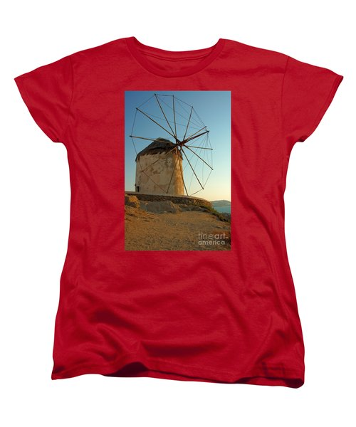 Mykonos Windmill  Women's T-Shirt (Standard Cut) by Joe  Ng