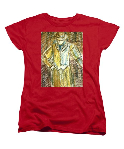 Women's T-Shirt (Standard Cut) featuring the painting Mystery Man by Cathie Richardson