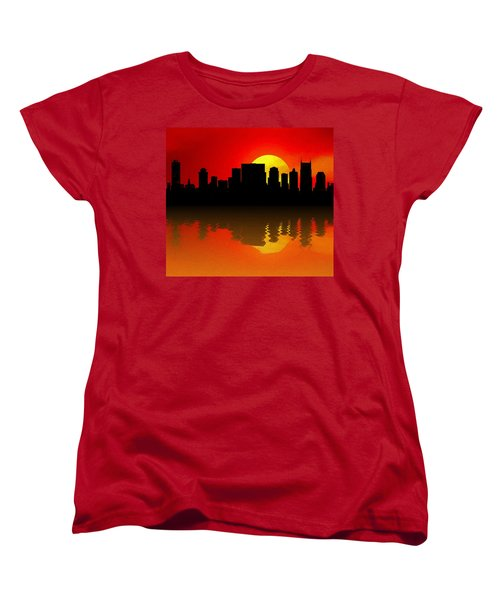 Nashville Skyline Sunset Reflection Women's T-Shirt (Standard Cut) by Dan Sproul