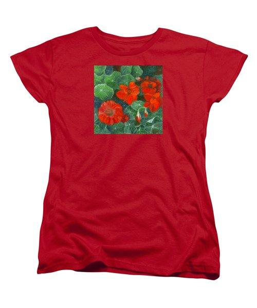 Nasturtiums Women's T-Shirt (Standard Cut) by FT McKinstry