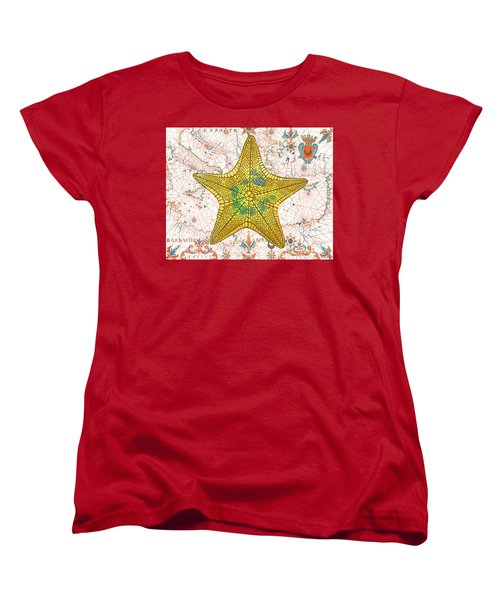 Women's T-Shirt (Standard Cut) featuring the painting Nautical Treasures-j by Jean Plout