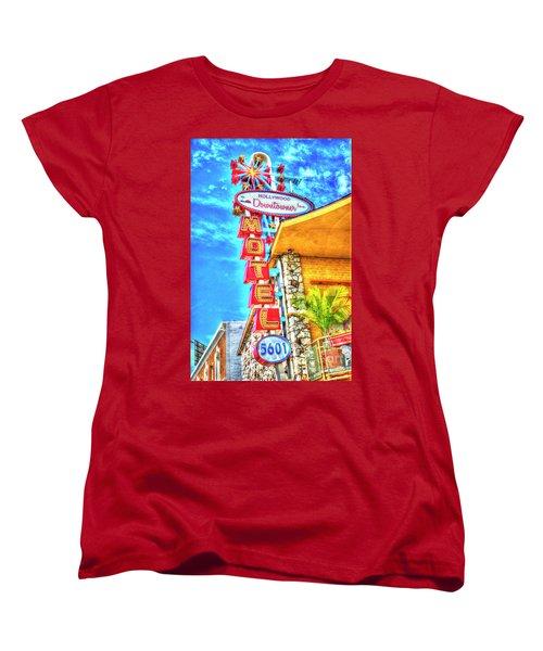 Neon Motel Sign Women's T-Shirt (Standard Cut) by Jim and Emily Bush