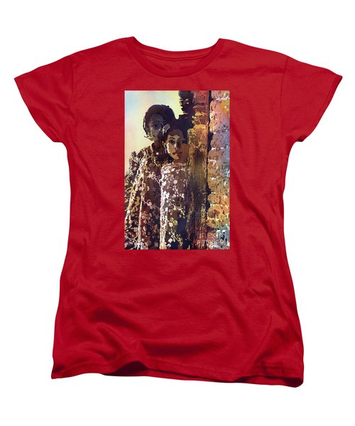 Women's T-Shirt (Standard Cut) featuring the painting Nepalese Girls by Ryan Fox