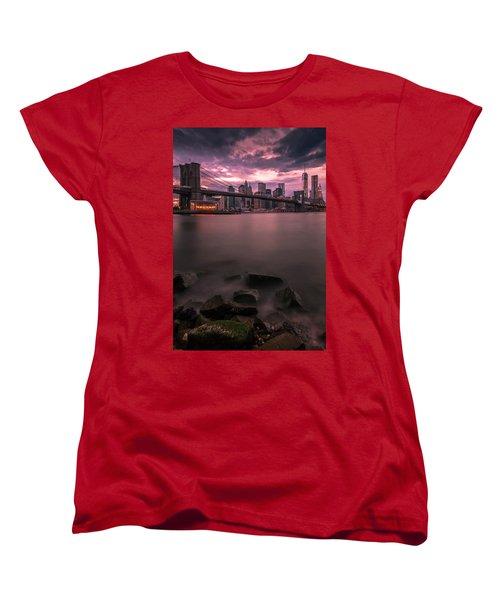 New York City Brooklyn Bridge Sunset Women's T-Shirt (Standard Cut) by Ranjay Mitra