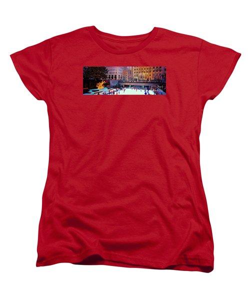 Women's T-Shirt (Standard Cut) featuring the photograph  New York City Rockefeller Center Ice Rink  by Tom Jelen