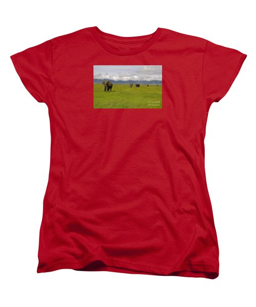 Ngorongoro Elephants-signed-#0135 Women's T-Shirt (Standard Cut) by J L Woody Wooden