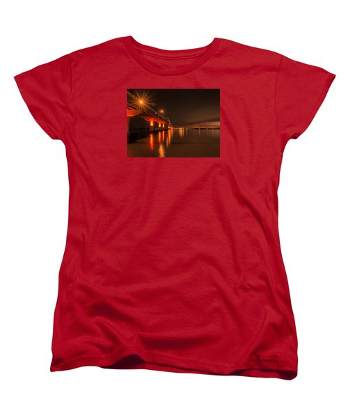 Night Time Reflections At The Bridge Women's T-Shirt (Standard Cut) by Dorothy Cunningham
