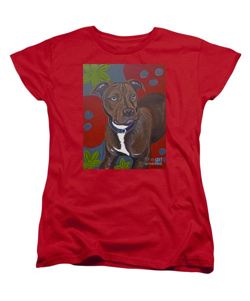Women's T-Shirt (Standard Cut) featuring the painting Niko The Pit Bull by Ania M Milo