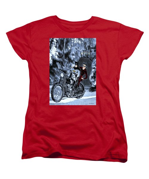Women's T-Shirt (Standard Cut) featuring the drawing No Cat Woman..this Is Not A Date by Pennie McCracken