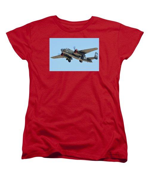 Women's T-Shirt (Standard Cut) featuring the photograph North American B-25j Mitchell Nl3476g Tondelayo Phoenix-mesa Gateway Airport Arizona April 15, 2016 by Brian Lockett