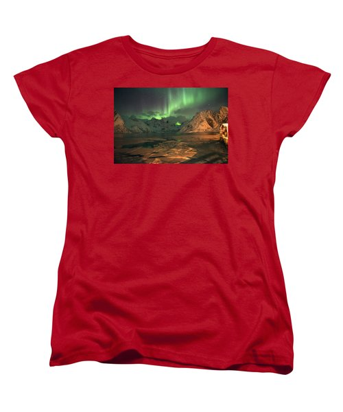 Northern Light In Lofoten, Nordland 1 Women's T-Shirt (Standard Cut) by Dubi Roman