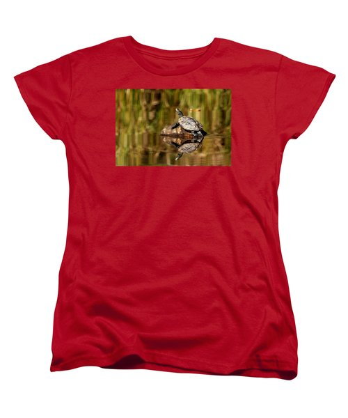 Women's T-Shirt (Standard Cut) featuring the photograph Northern Map Turtle by Debbie Oppermann