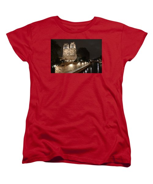 Women's T-Shirt (Standard Cut) featuring the photograph Notre Dame Cathedral From Petit Pont by Christopher Kirby