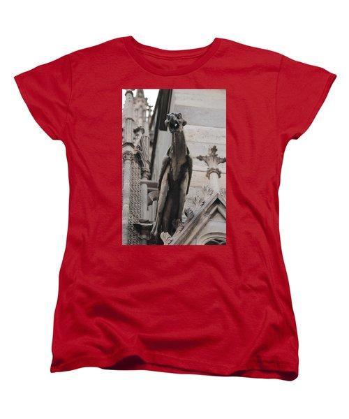 Rain Spouting Gargoyle. Women's T-Shirt (Standard Cut) by Christopher Kirby