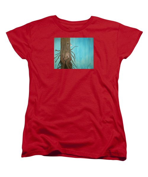 Women's T-Shirt (Standard Cut) featuring the painting Nuthatch by Edwin Alverio