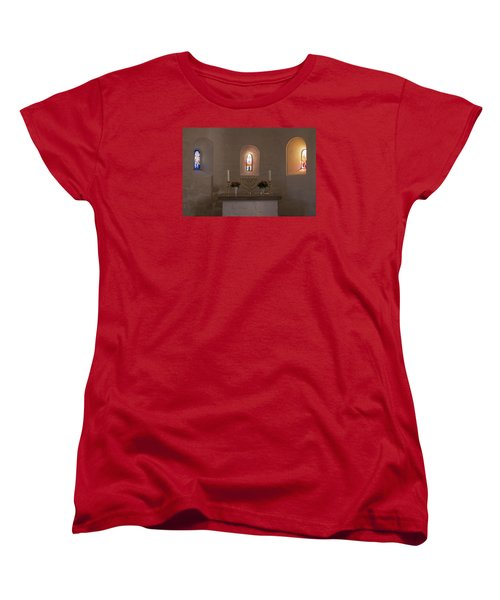 Women's T-Shirt (Standard Cut) featuring the photograph Nyker Round Church Altar by Inge Riis McDonald