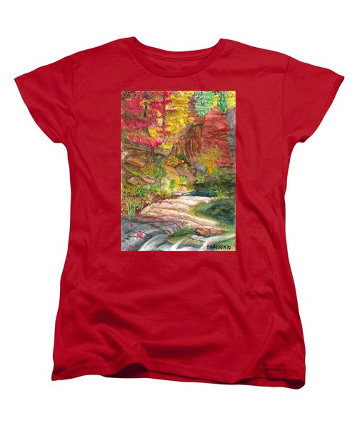 Women's T-Shirt (Standard Cut) featuring the painting Oak Creek West Fork by Eric Samuelson