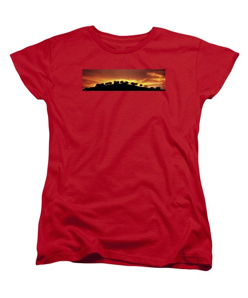Women's T-Shirt (Standard Cut) featuring the photograph Oaks On Hill At Sunset by Jim and Emily Bush