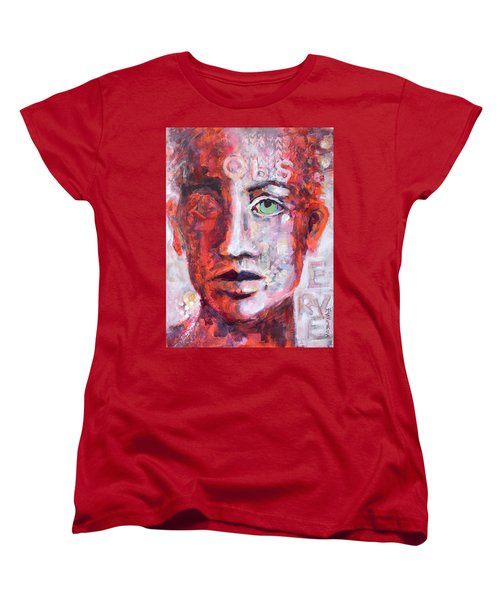 Women's T-Shirt (Standard Cut) featuring the painting Observe by Mary Schiros