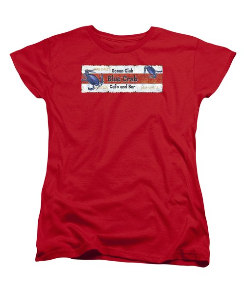 Ocean Club Cafe Women's T-Shirt (Standard Cut) by Debbie DeWitt