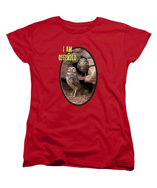 Women's T-Shirt (Standard Cut) featuring the photograph Offended Owl by Phyllis Denton