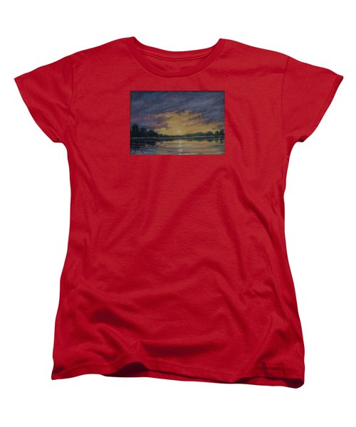 Women's T-Shirt (Standard Cut) featuring the painting Offshore Sunset Sketch by Kathleen McDermott
