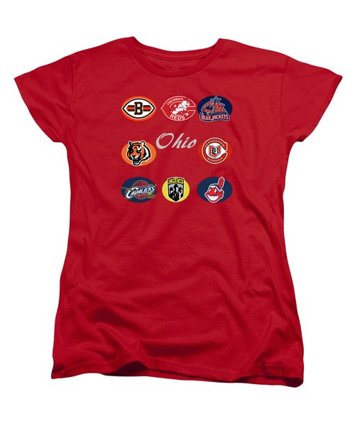 Ohio Professional Sport Teams Collage Women's T-Shirt (Standard Cut) by Movie Poster Prints