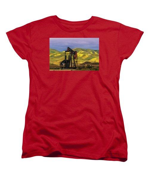 Women's T-Shirt (Standard Cut) featuring the photograph Oil Field And Temblor Hills by Marc Crumpler