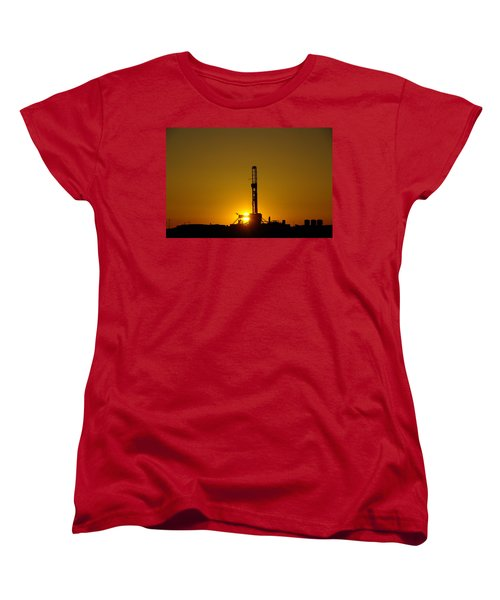 Oil Rig Near Killdeer In The Morn Women's T-Shirt (Standard Cut) by Jeff Swan