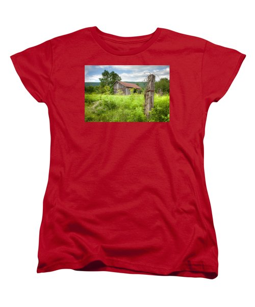 Women's T-Shirt (Standard Cut) featuring the photograph Old Barn Near Stryker Rd. Rustic Landscape by Gary Heller