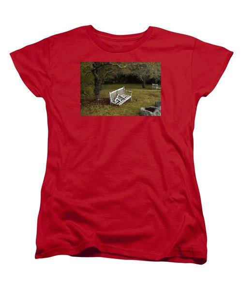 Old Benches Women's T-Shirt (Standard Cut) by Alex Galkin