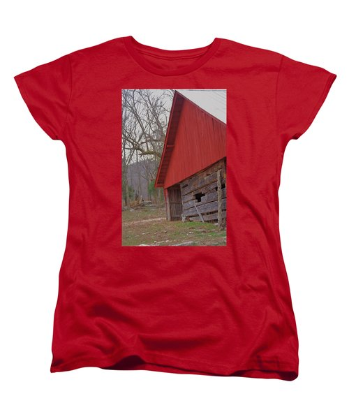 Women's T-Shirt (Standard Cut) featuring the photograph Old Log Barn by Debbie Karnes