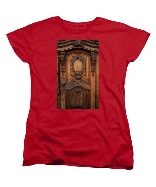 Old Ornamented Wooden Doors Women's T-Shirt (Standard Cut) by Jaroslaw Blaminsky