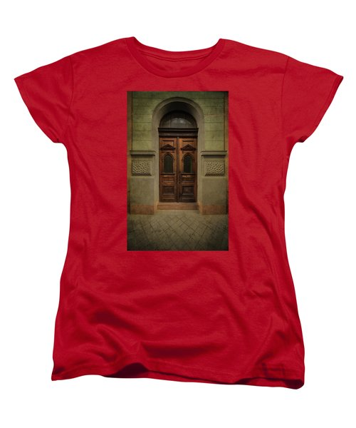 Old Ornamented Wooden Gate In Brown Tones Women's T-Shirt (Standard Cut) by Jaroslaw Blaminsky