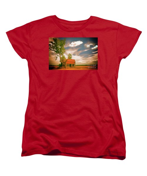 Old Rustic Vintage Farm House And Tree Ap Women's T-Shirt (Standard Cut)